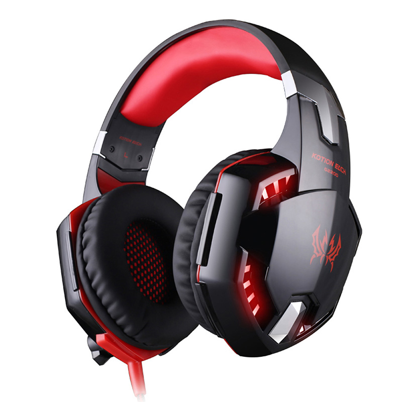 KOTION EACH G2200 Gaming Headphone Stereo Headband Game Headsets USB 7.1 Surround Vibration Wired Headphones with Mic LED Light each g8200 gaming headphone 7 1 surround usb vibration game headset with mic led light headband earphone for pc gamer laptop