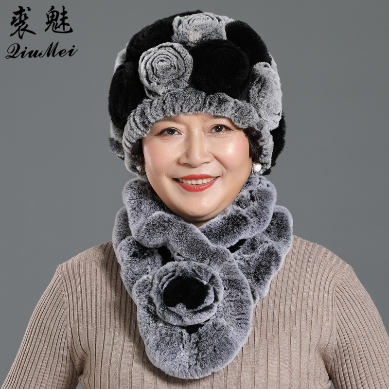 Lady Winter Genuine Rex Rabbit Fur Hats Scarves Knit Flower Women Warm Natural Fur Caps Scarves Sets 2 Pieces Hat Muffle
