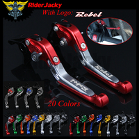 RiderJacky LOGO Rebel Motorcycle CNC Brake Clutch Levers For Honda Rebel CMX250 1996 2011 2010 Adjustable Extendable Foldable
