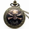 Cool Hot Sale Skull Bone Motorcycle Quartz Watch Men Pocket Watch Chain Christmas Gift New Year P1414