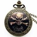 Venta Caliente fresco Del Hueso Del Cráneo Motocicleta Hombres Reloj de Cuarzo Reloj de Bolsillo de Cadena de Regalo de Navidad Año Nuevo P1414