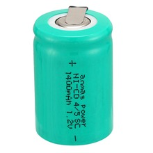 Anmas Power 1.2V 1400mAh Rechargeable Battery Green Ni-CD 4/5 Sub C Cell with Welding Tabs for Electric Drill Screwdriver