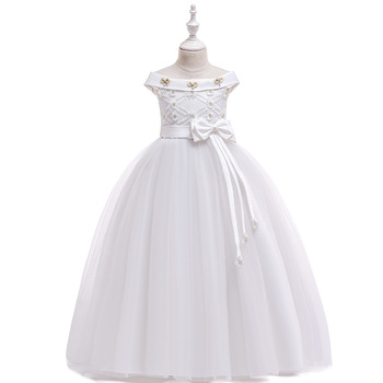 High Quality Princess White  Flower Girls Dresses for Wedding Tulle Off the Shoulder Kids Birthday Princess Party Dress цена 2017