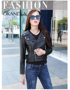 Free shipping,fashion Genuine leather women slim jackets.Asian plus size female casual sheepskin jacket.girl gift.black