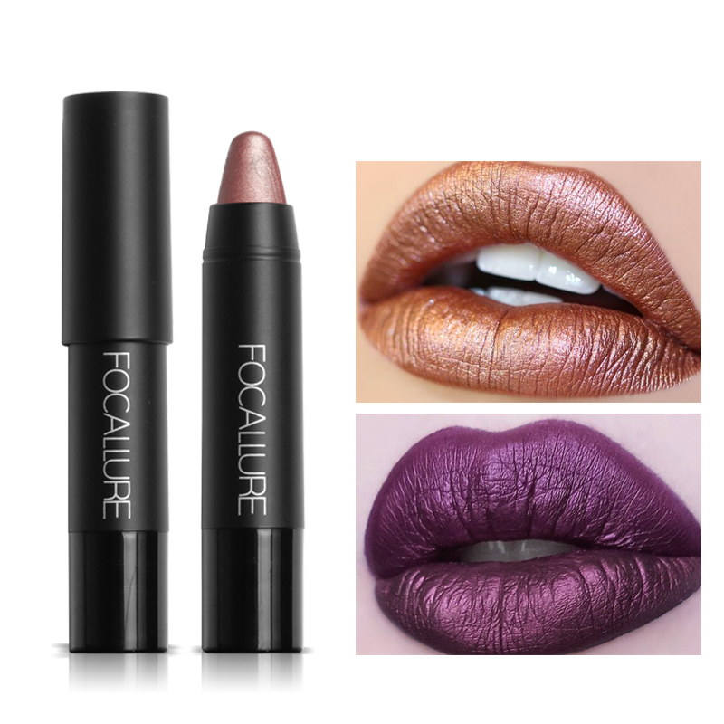 FOCALLURE New 8 Metallic Lip Colors Sexy Party Lip Color Lip Stick Matte Lip Gloss Long-lasting Lipsticker