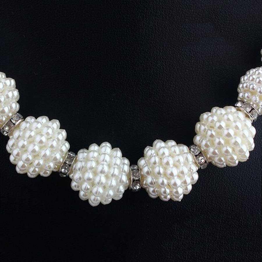 ערכות תכשיטים הודי כלה טורקית פנינה מדומה גדולה אופנה סטי שרשרת הצהרת נשים תכשיטי חרוזים אפריקאים הגדר עבור מתנות