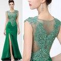 Verde elegante Apliques Vestido de Noite Longo de Strass Vestidos de Noite 2017 de Luxo Frente Slit Formal Party Dress Prom Vestidos