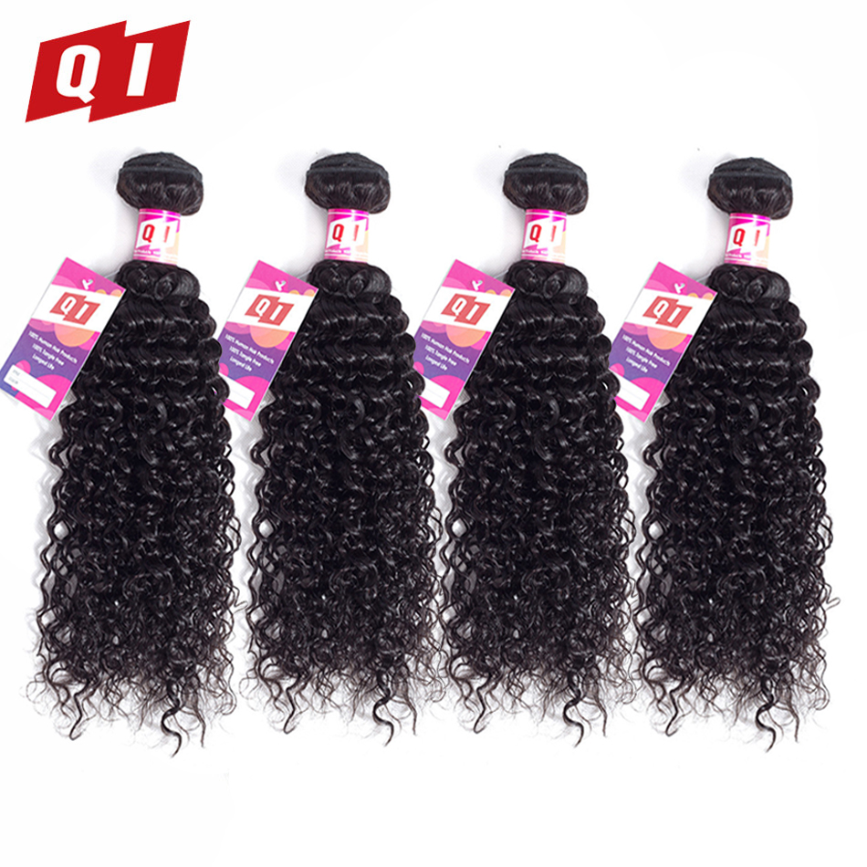 QI Hair Peruvian Kinky Curly Hair Weaves Bundles 4 Bundles 100% Human Hair Extensions Non Remy Hair Bundles Natural Color