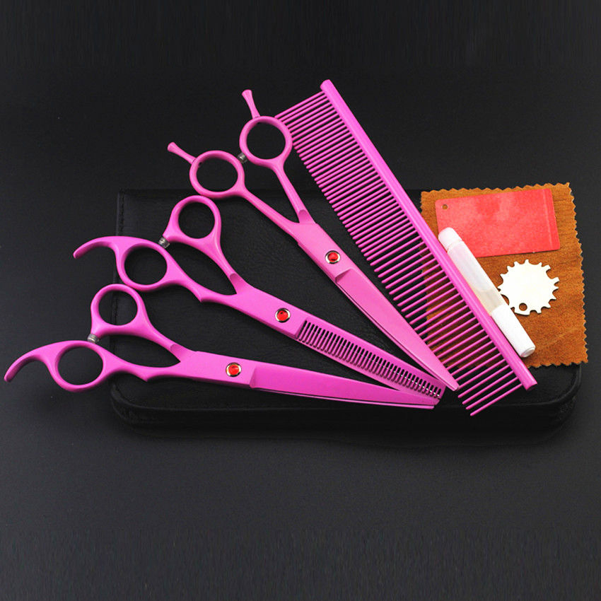 4 kit Professional 8 inch PINK pet grooming shears cutting hair scissors case dog grooming thinning barber hairdressing scissors purple dragon 7 inch pink black thinning pet shears dog hair scissors clipper for dogs professional grooming tool for dog cat