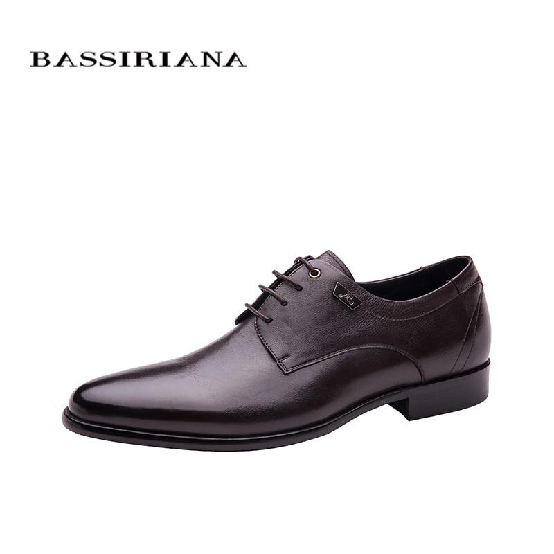 Zapatos de hombre de cuero genuino con cordones primavera otoño negro marrón 36 40 tamaño ruso envío gratis BASSIRIANA-in Zapatos formales from zapatos    1