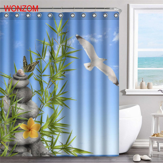 WONZOM Landscape Shower Curtains For Bathroom Decor Modern Bamboo And Stone Animal Bath Curtain With 12