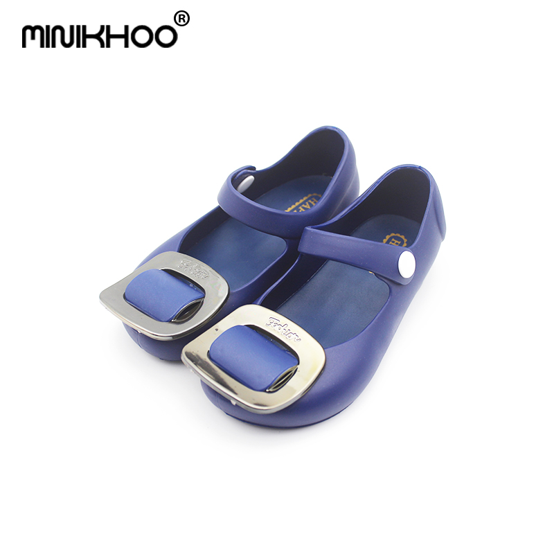 Mini Melissa Square Buckle Jelly Sandals Girl Shoes 2018 New Summer Mini Melissa Sandals Waterproof Rain Shoes Sandals Shoes