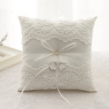 8x8 inches Ivory White Lace Flower Bowknot Satin Ring Bearer Pillow With Rhinestone Ribbon Wedding Ceremony Decoration Supplies