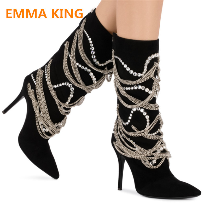 EMMA KING 2018 New Women Fashion Pearl Chain Studded Knee High Boots High Thin Heel Pointed Boots Women Shoes Snow Boots Women сандалии king boots king boots ki008awazzl1