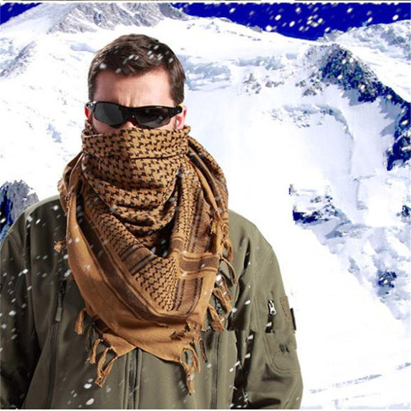 Outdoor Unisex Army Military Tactical Arab Shemag Cotton Scarves Hunting Paintball Head Scarf Face Mesh Desert Bandanas Scarf