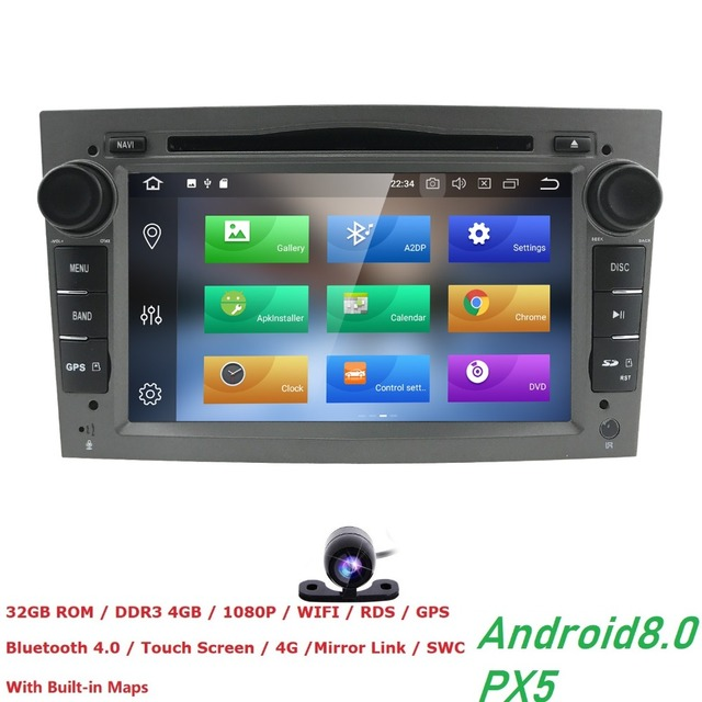 Android 8.0 4G RAM 32G ROM PX5 8CORE 2 DIN Car DVD GPS Radio stereo For Vauxhall Opel Astra H G J Vectra Antara Zafira Corsa dvd