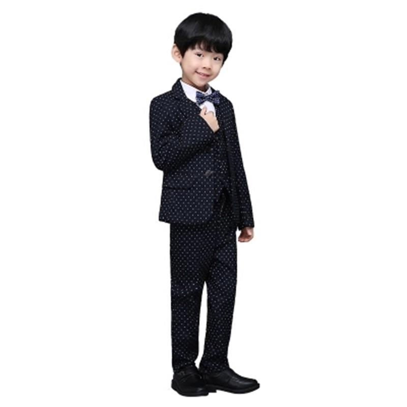 купить Fashion Spring autumn boys wedding costume formal blazer suits england style boys prom vest blazer suit children clothing set по цене 3274.08 рублей