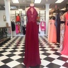 Heißer Verkauf Burgund Prom Dresses 2017 Günstige Halter Langes Abendkleid Spitze Appliques Perlen A-linie bodenlangen Vestido De Festa