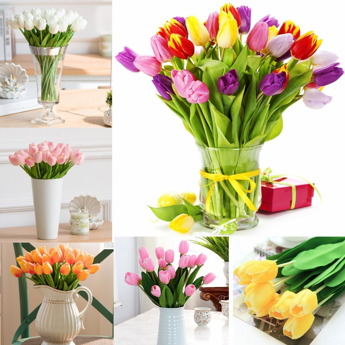 Tulips silk bouquet artificial flowers party home decor for Artificial leaves for decoration