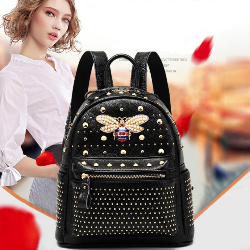 2018 Fashion Women Bag Diamond Bee Bags Pearl Rivet Travel Shoulder Bag PU Leather School Backpack Female Black Bag New Arrivals 2018 new rivet pu leather backpack women fashion school bag casual patent leather travel bag women backpack monster school bag