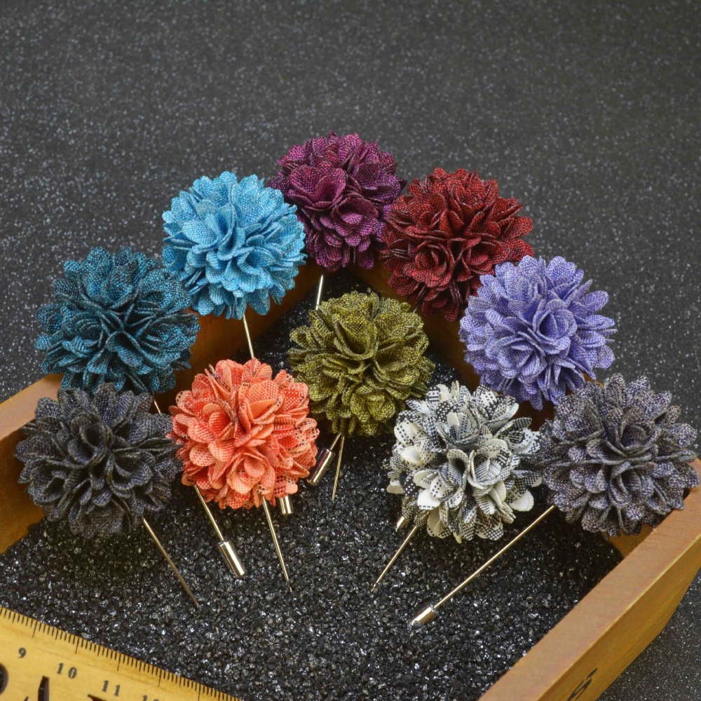 Free shipping, 10 pcs/lot , Mens Floral Lapel Pin, Boutonniere Flower Lapel Pins for Party Business Wedding Small Gift