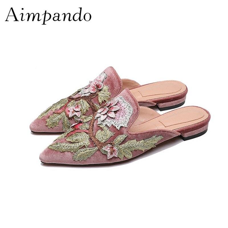 Broderie Floral Mules femmes orteils pointus été luxe troupeau mode Outwear Lazyman plat pantoufles