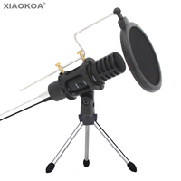 Portable mini Condenser Microphone for phone With Stand Built in Sound Card portable speaker Karaoke dual layer acousticfilter