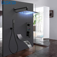 ULGKSD Bathroom Black Bronze Shower Faucet Set LED Digital Cold and Hot Mixer Tap W/ Waterfall Tub Faucets Para Bath Ducha