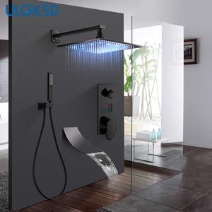 Image 1 - ULGKSD Bathroom Black Bronze Shower Faucet Set LED Digital Cold and Hot Mixer Tap W/ Waterfall Tub Faucets Para Bath Ducha