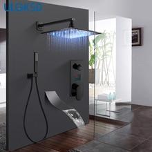 ULGKSD ensemble de robinets de douche Bronze noir, salle de bains mélangeur numérique froid et chaud avec robinets de baignoire à cascade, Para Bath douche LED