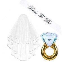 1 set Bridal Shower Wedding Veil Bride To Be sash Ring Balloon for Bachelorette Hen Night