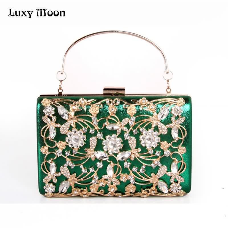 Luxy Moon Evening Bags Flower Crystal Clutch Evening Clutches Women Wedding Party <font><b>Purse</b></font> Wallet Female <font><b>pouch</b></font> Wrist bag ZD773