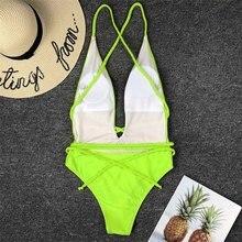 Yellow Bikini Women Swimwears Long Bandage Strap Wrap Around One-Piece Swimsuit Female Bather Deep V Neck Bathing Suit Bodysuit