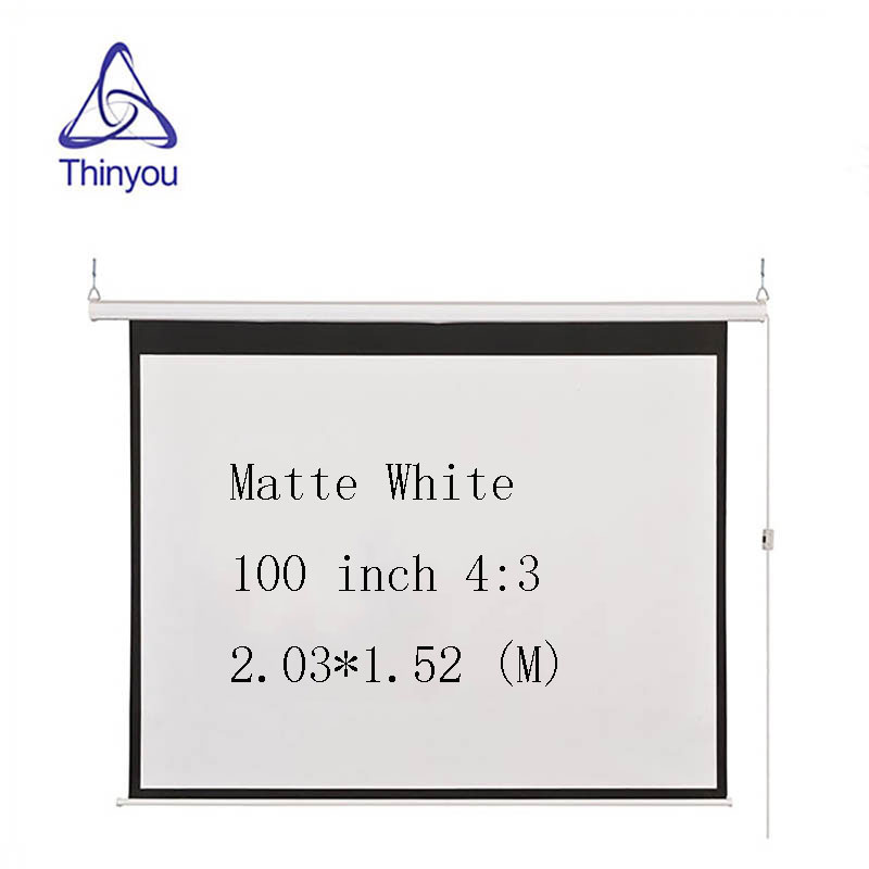 Thinyou 100 inche 4:3 Electric Projection Screen Wireless and wired remote control Matt White for LED LCD HD Movie Motorized