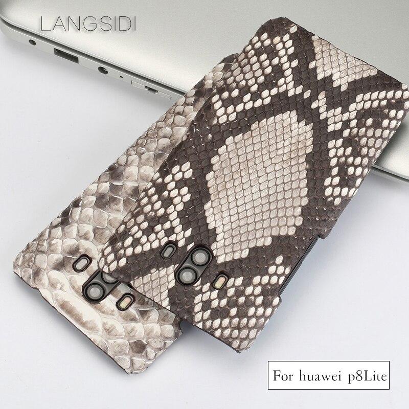 LANGSIDI pour Huawei P8 Lite coque de téléphone en cuir véritable fait main en peau de python véritable pour autre couverture