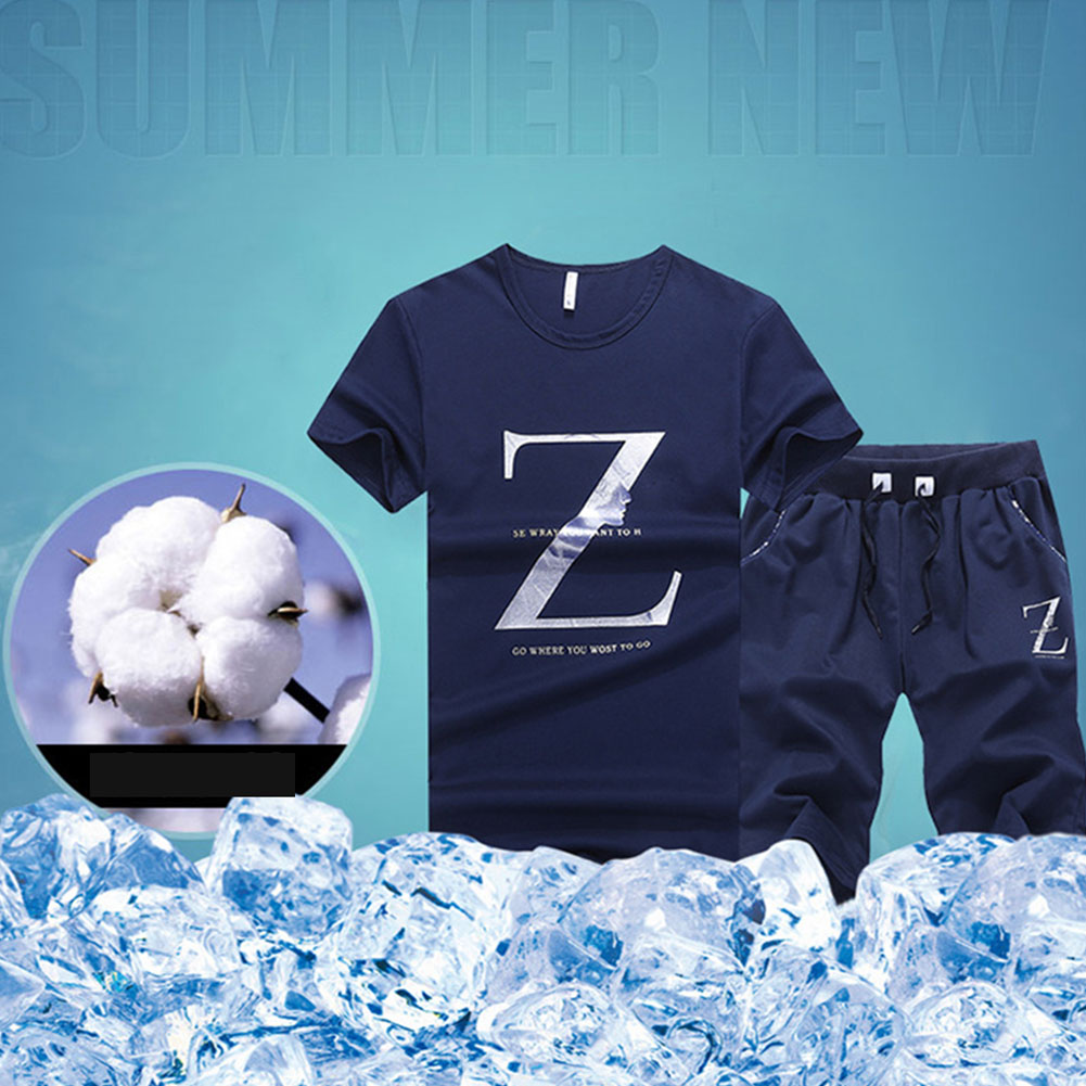 Men T-shirt+shorts Set Short Sleeve Causal Letter Printed Boys Suit Sport Holiday Base Two-piece Summer Slim Fit Round Collar