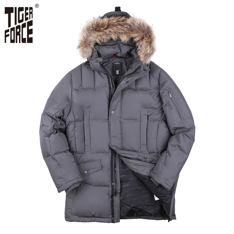 TIGER FORCE 2017 Plus Size Man Duck Down Jacket Parka Brand Winter Hooded Down Coat With Raccoon Fur Collar 5XL Free Shipping 2015 mens down padded coat fashion splice leather patchwork male down coat hooded winter jacket man fur collar plus size xxxxxl