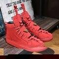 Красный Мужской Треугольник Обувь Мужчины Высокие Верхние Моды Плоским Замши Бренд Повседневная Обувь Мужской Zapatillas Deportivas Hombre