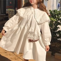 Japanese Harajuku Women White Black Dress Double layer Lace Collar Anime Kawaii Dress Lolita Style Mori Girl Oversize Cute Dress
