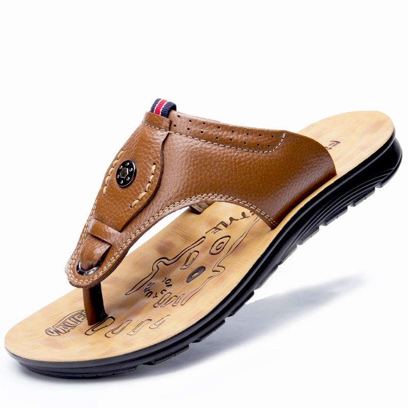 Summer Male Genuine Leather Slippers Men Breathable Beach Shoes Casual Quality Walking Slipper Man Flat Slides Men's Shoes