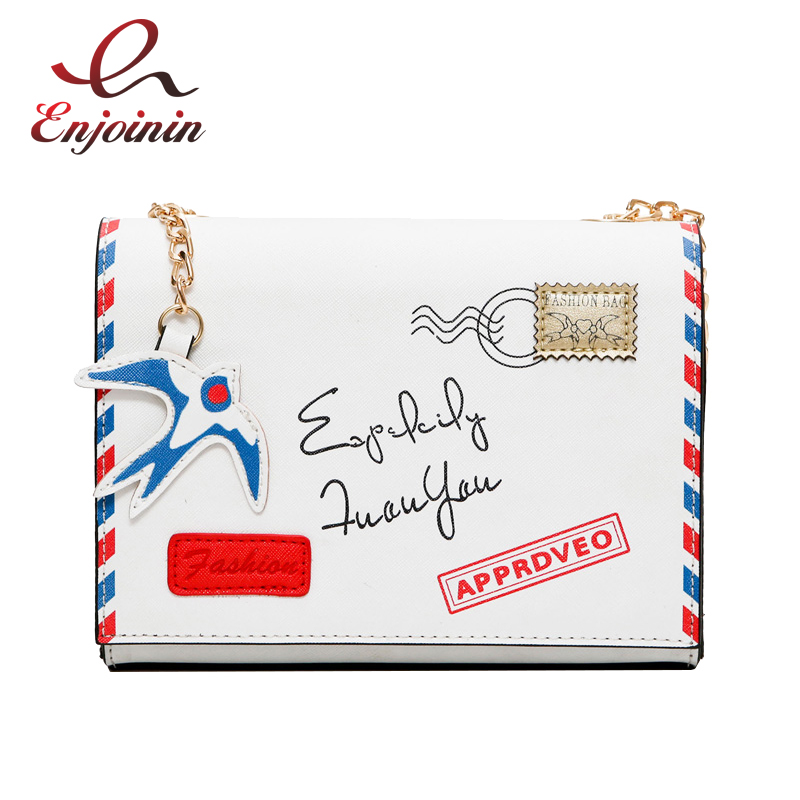 Envelope modeling white fashion pu leather badge female casual shoulder bag chain bag handbag crossbody messenger bag purse flap  fun fashion personality disposable leather pu leather chain shoulder bag handbag female crossbody mini messenger bag purse