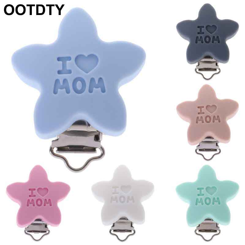 Baby Pacifier Clip Soother Teether Star Silicone Safe Holder Saliva Towel Support Anti Fall Cute Clips Newborn Infant Feeding