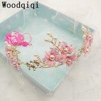 Woodqiqi Pink Elegant Hairband Women Pearl Hair Jewelry Crystal Tiara Handmade Hair Ornaments Bride Crown Wedding