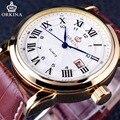 Orkina Clássico Série Romana Marrom Pulseira De Couro Genuíno Calendário Visor do Relógio Mens Assistir Top Marca de Luxo Negócio Relógio de Quartzo