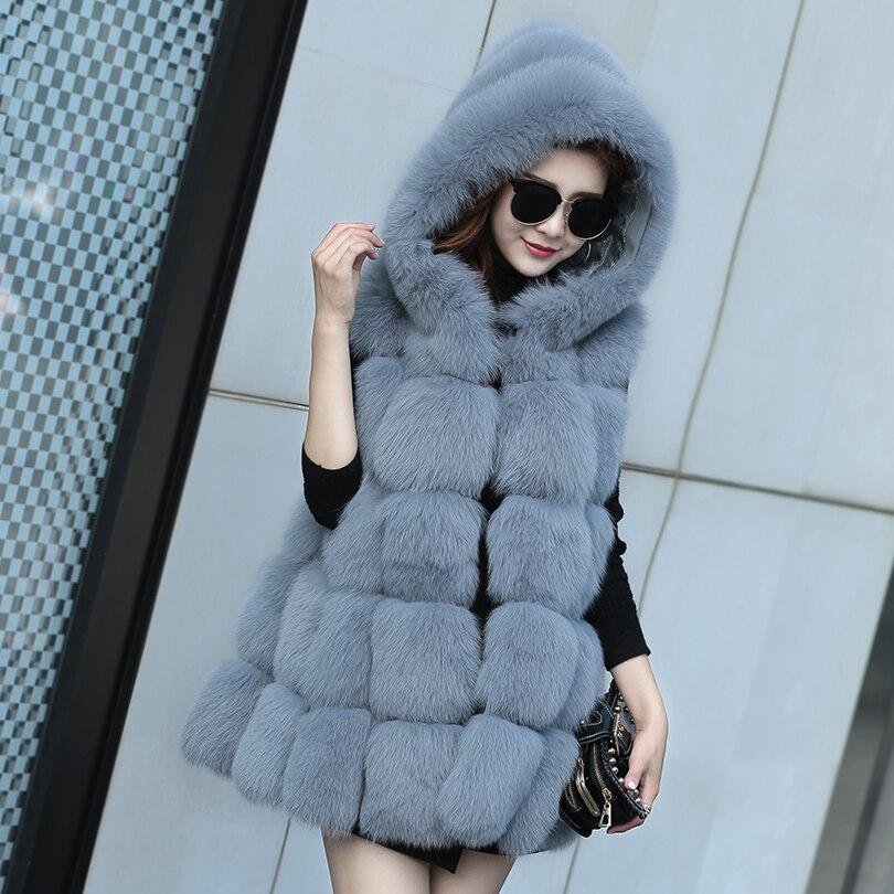 2018 Nouvelle Réel fourrure de Renard Des Femmes Gilet Capuche Cap En Cuir De Mode de luxe Épais Manteau Chaud Veste Solide Couleur De Fourrure Gilets Femmes Manteaux à capuchon