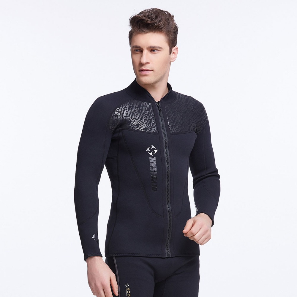 3mm Neoprene Jacket Wetsuit Top Black Front Zipper for Men with Hood or Short Pants Long Pants 1mm