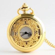 Винтаж стимпанк полые цветок кварцевые карманные часы цепочки и ожерелья Подвеска цепи Подарки CF1007