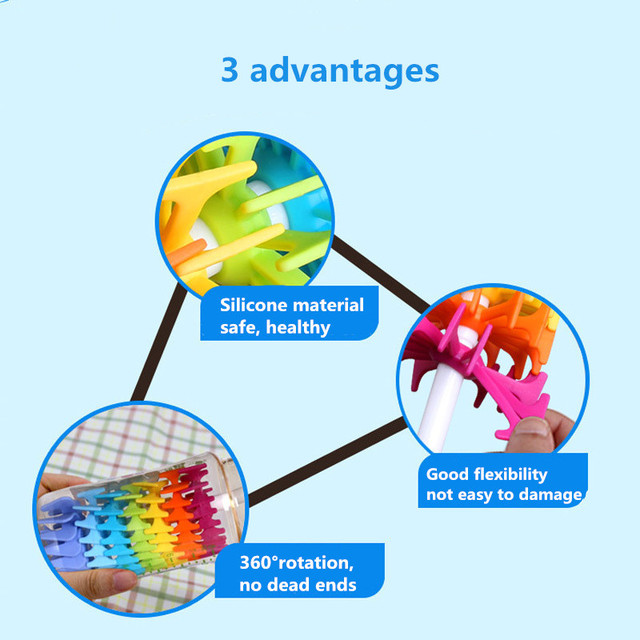 New Silicone Baby Bottle Brushes for Cleaning Kids Milk Feed Bottle Nipple Pacifier Nozzle Spout Tube Cleaning Brush 2