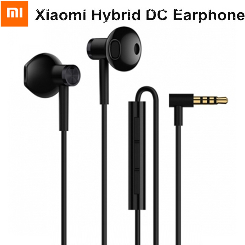 Xiaomi Hybrid DC Half In-Ear Earphone Dual Drivers Earbud with Microphone Wire Control L-Shape Plug For Phone PC