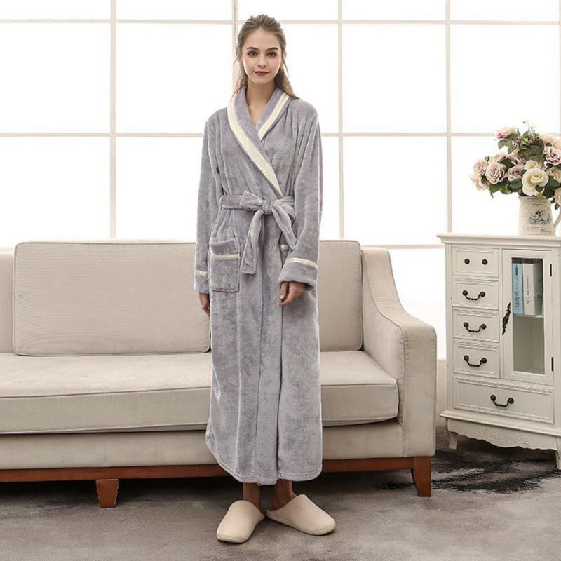 Autumn Winter Plush Bathrobe Thick Warm Female Robe Women Men Flannel Bath Robe Sleepwear Gary